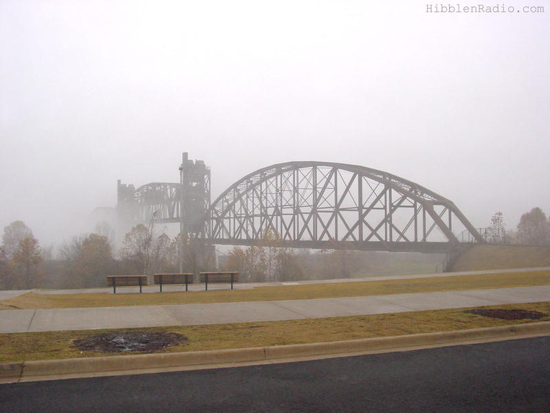 The bridge on a foggy day in 2004 after it became part of the Clinton Presidential Center.
