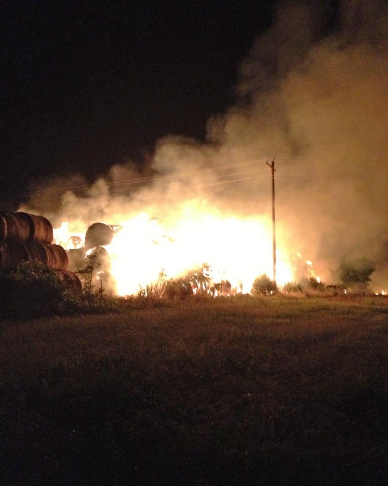 Hay bales on fire