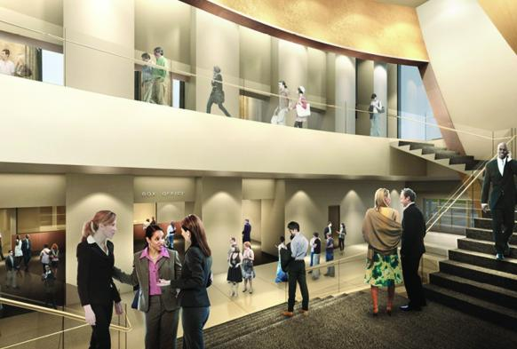 View of the proposed street level lobby.