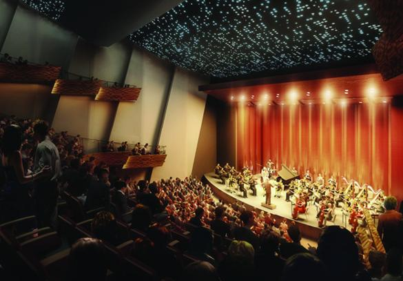 View of how a renovacted performance hall would look.