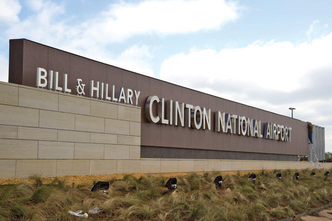 Bill and Hillary Clinton Airport Sign