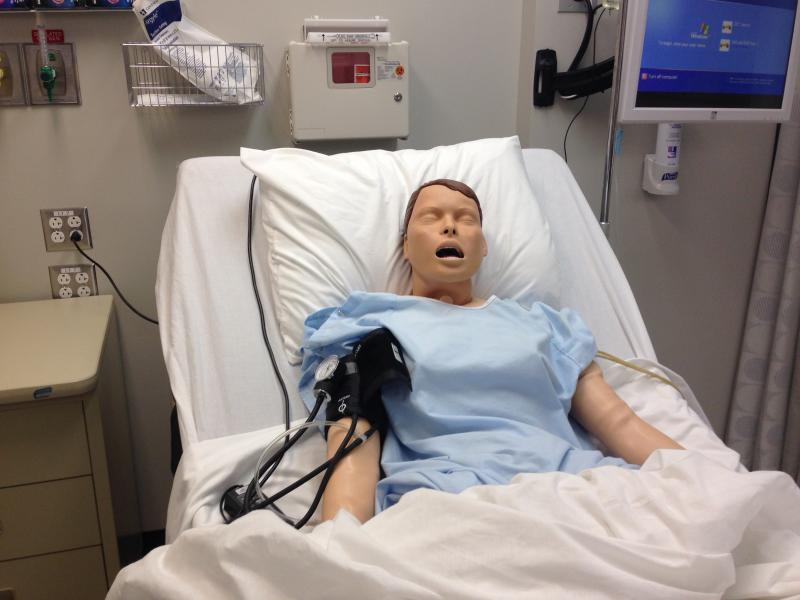 One of several new training manikins to be used by nursing students to practice forms of protocol.