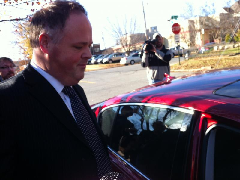 Lt. Gov. Mark Darr leaving the Arkansas Ethics Commission hearing in December.