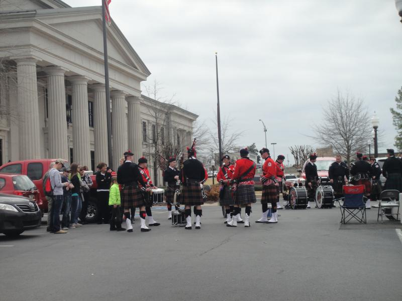 Bagpipers rehearsing for the ceremony.