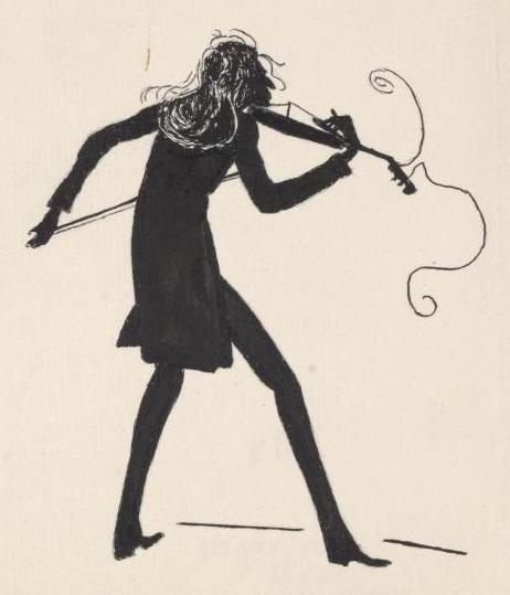 In this caricature, Paganini plays on, in spite of losing all but one string on his violin.