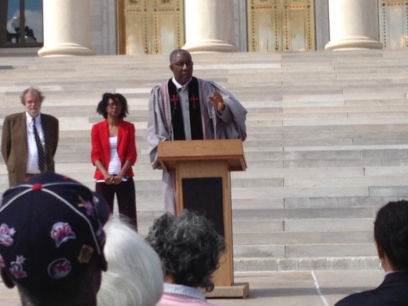 Judge Wendell Griffen at Truthful Tuesday on the steps of the state Capitol in 2014.