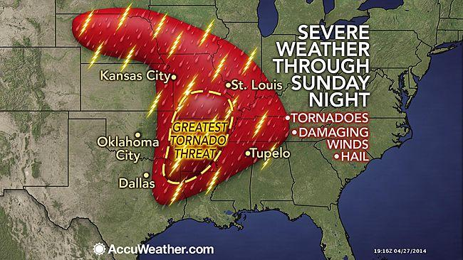 The greatest risk of violent tornadoes centered around Arkansas and southern Missouri.