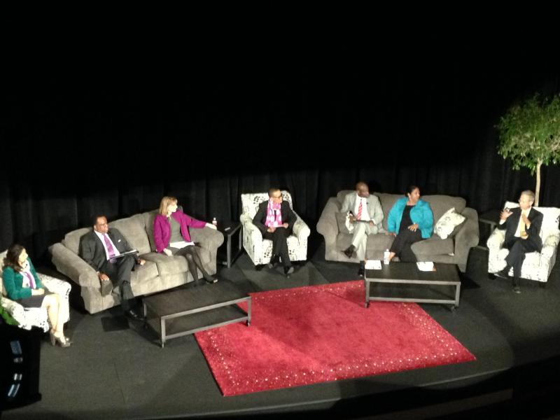 A panel moderated by Senator Joyce Elliott discusses the economics of race at Ron Robinson Theater in Little Rock.
