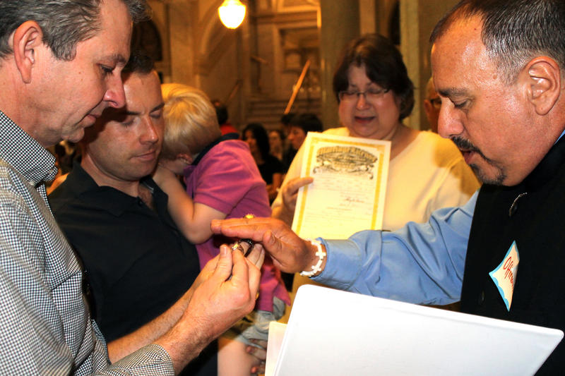 A marriage ceremony being performed in the Pulaski County Courthouse in May 2014.