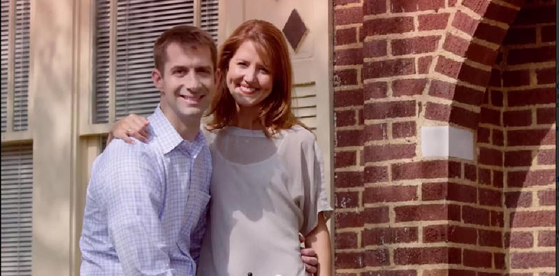 "US Rep. Tom Cotton and his wife Anna in the ad ""Roots."""