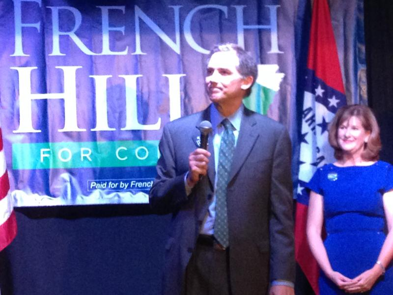 French Hill at election watch party in Little Rock.