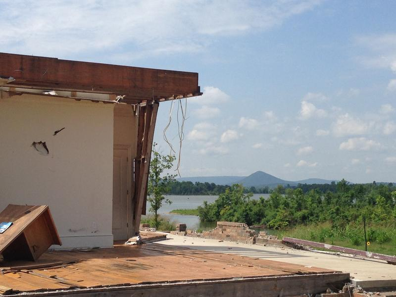 Destroyed House With Pinnacle Mountain In Background