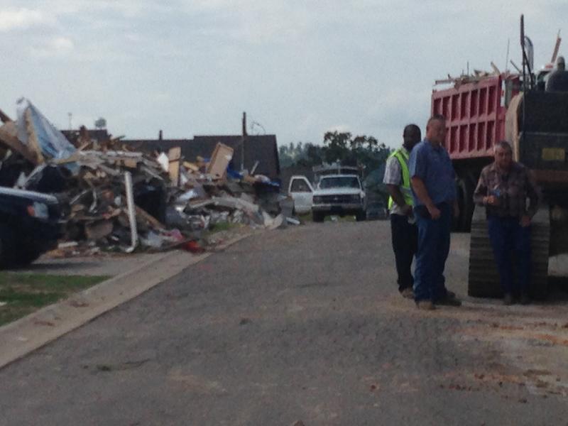Trucks Carrying Debris