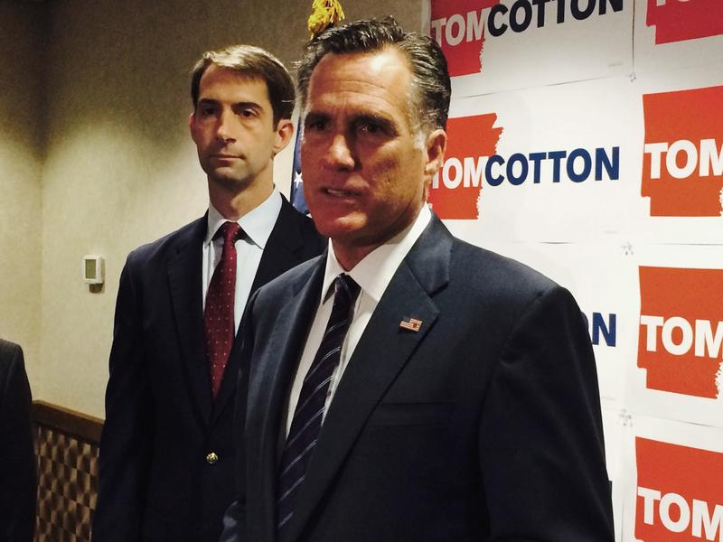 Former Republican Presidential Nominee Mitt Romney with then-U.S. Rep. Tom Cotton (R-AR) during his successful run for U.S. Senate.
