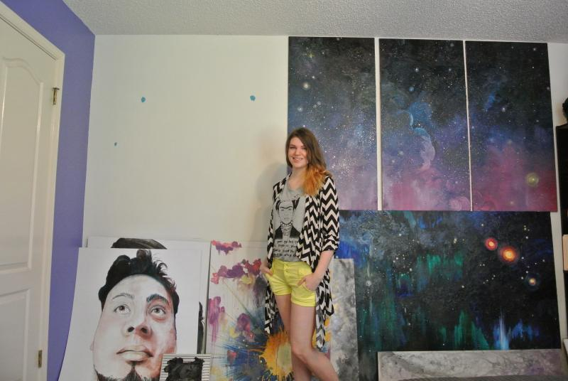 Joe Standing Next to Her Art