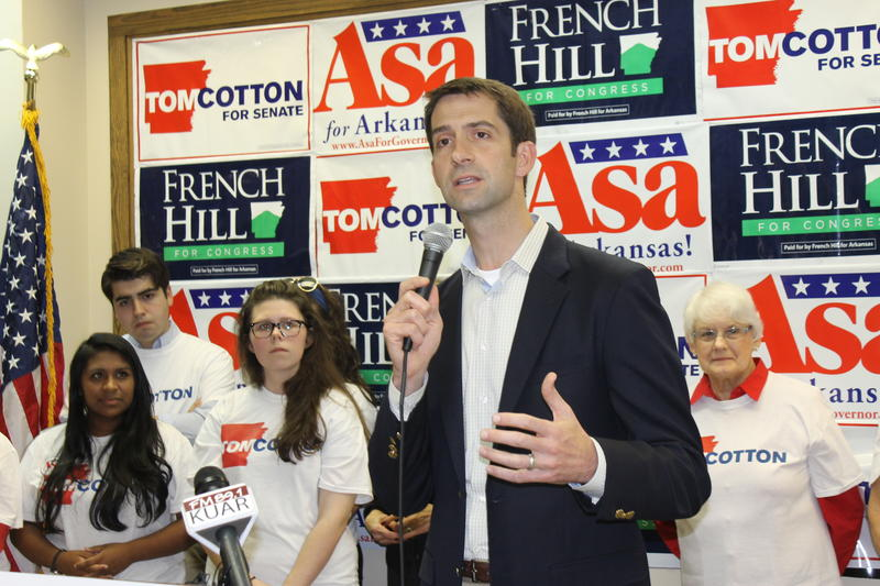 File photo. Tom Cotton campaigning in 2014.