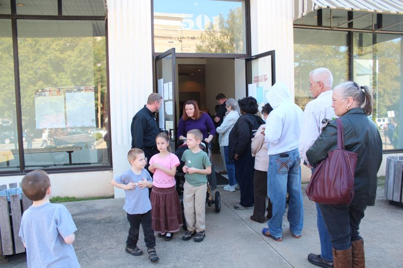 About 120 people stood in line Monday morning at the Pulaski County polling site on Markham Street.