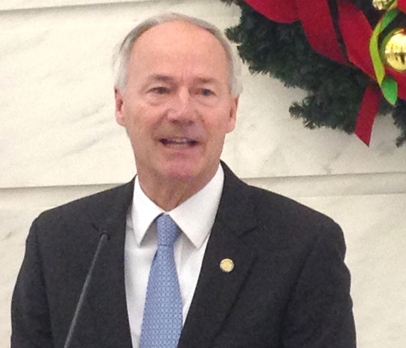 Republican Governor-elect Asa Hutchinson speaking in the Capitol Rotunda.