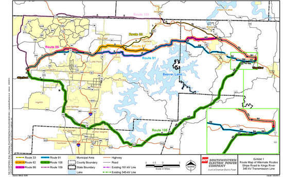 Previously proposed routes for SWEPCO's Shipe Road-Kings River Transmission Line Project.