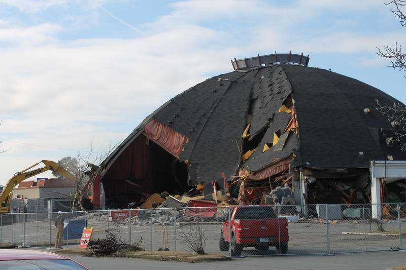 The east side of the old Cinema 150 begins to buckle after a support beam was knocked down.
