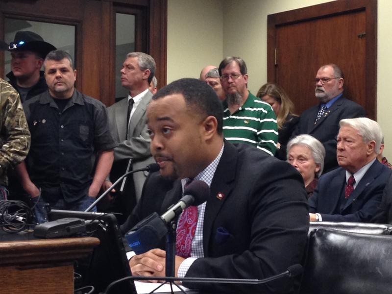 State Rep. Charles Blake (D-Little Rock) testifying to end the joint observance of Martin Luther King, Jr. and Robert E. Lee. (2015 file photo)