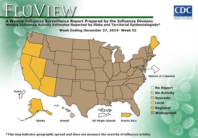 A map showing the extent of flu activitiy in each U.S. state