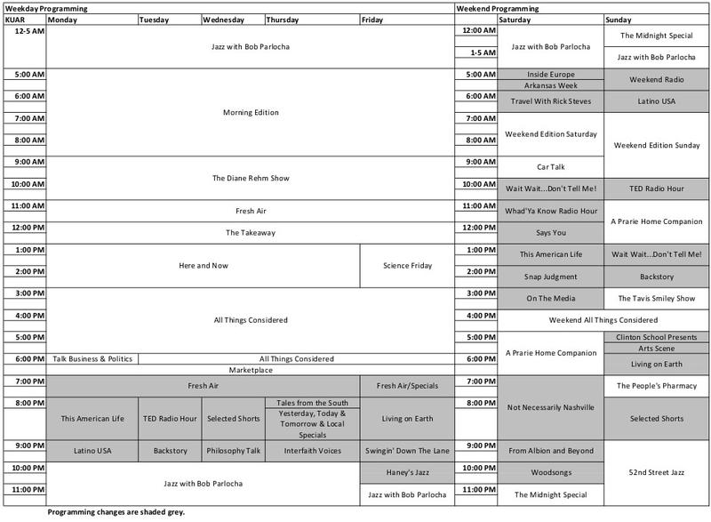 KUAR Program Schedule