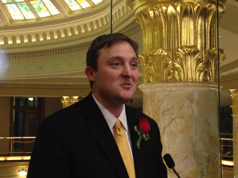 House Speaker Jeremy Gillam speaking to reporters after the inauguration of Governor Asa Hutchinson.