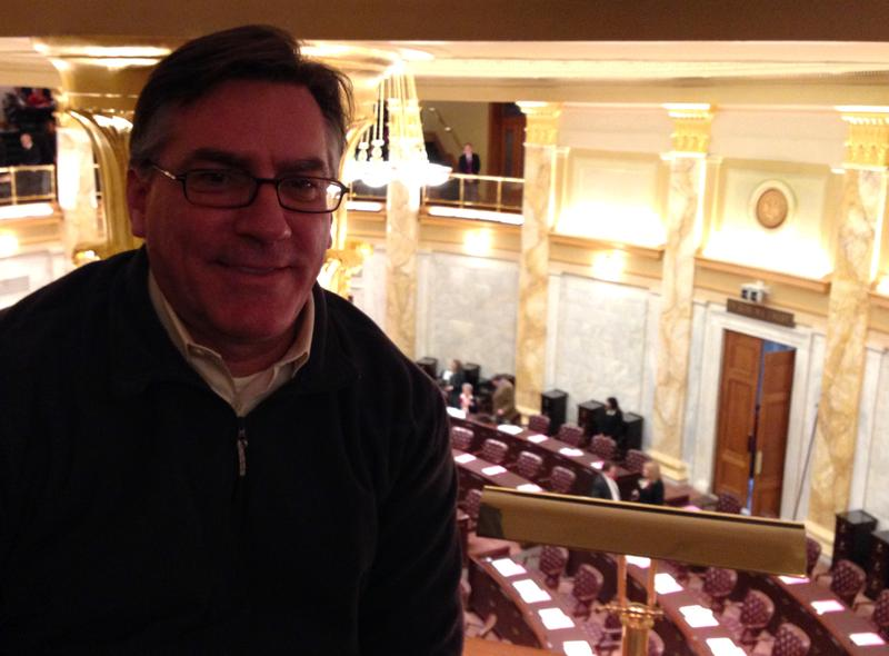 Roby Brock, editor-in-chief of Talk Business and Politics, in the gallery of the state House of Representatives.
