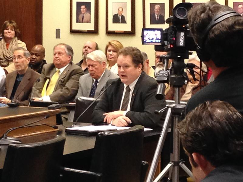 Rep. Nate Bell in a committee hearing during the 2015 regular session of the Arkansas Legislature.