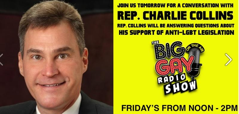 "KABF ""Big Gay Radio Show"" poster with Charlie Collins"