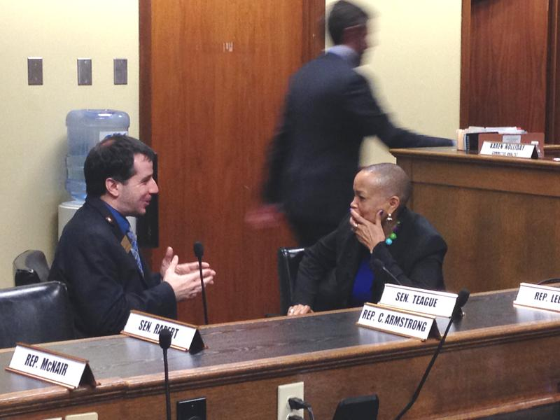 Rep. David Meeks (R-Greenbrier) and Sen. Joyce Elliott (D-Little Rock) chatting after a committee morning Monday morning.