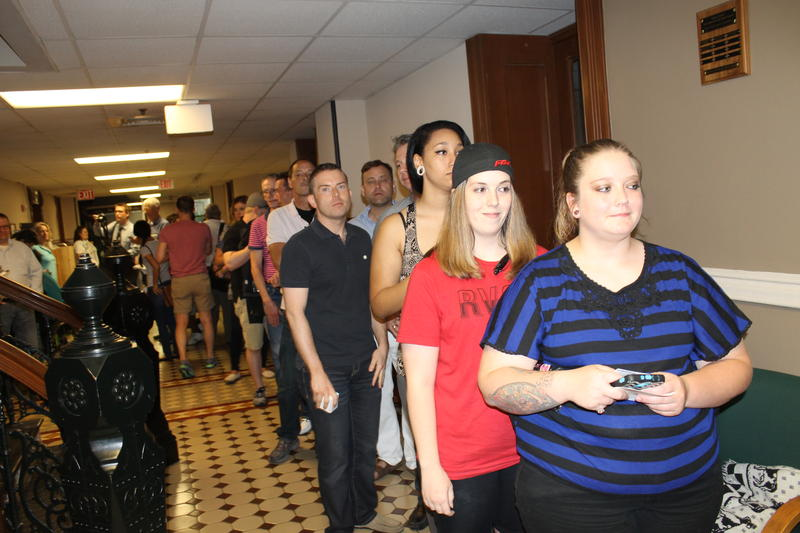 Couples lined up to get marriage licenses Monday at the Pulaski County Courthouse.