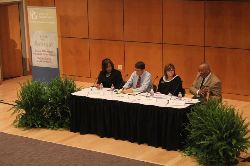 Panelists discuss findings of 2015 Racial Attitudes Survey at the University of Arkansas at Little Rock.