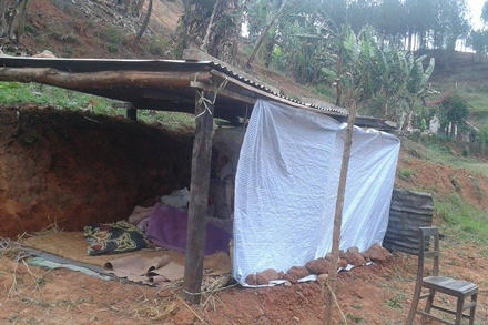 A project participant's temporary shelter is seen in the heavily damaged district of Nuwakot.