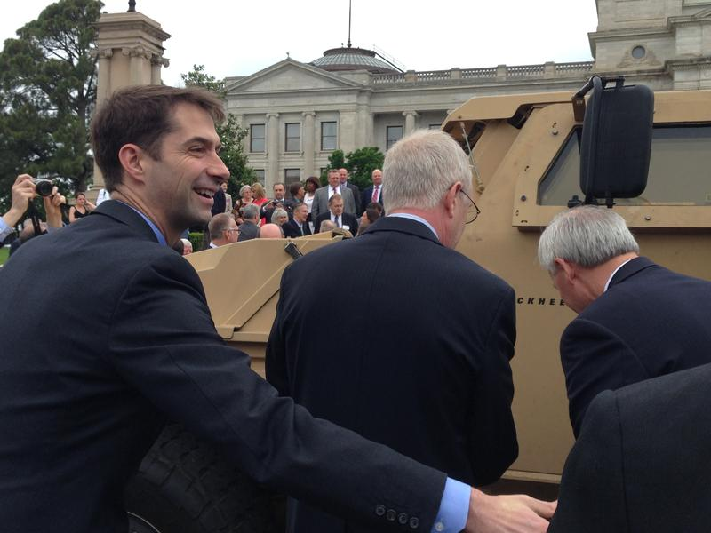 File photo: US Sen. Tom Cotton touring military vehicle prototypes in Little Rock.