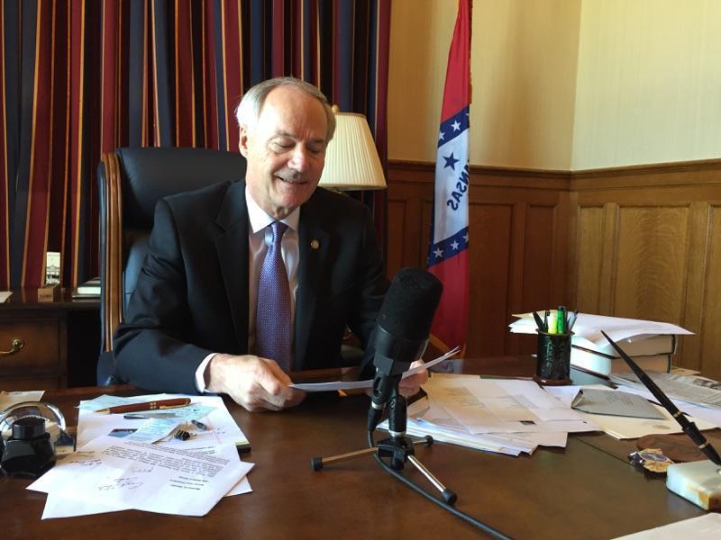 Governor Asa Hutchinson delivering his weekly radio address.