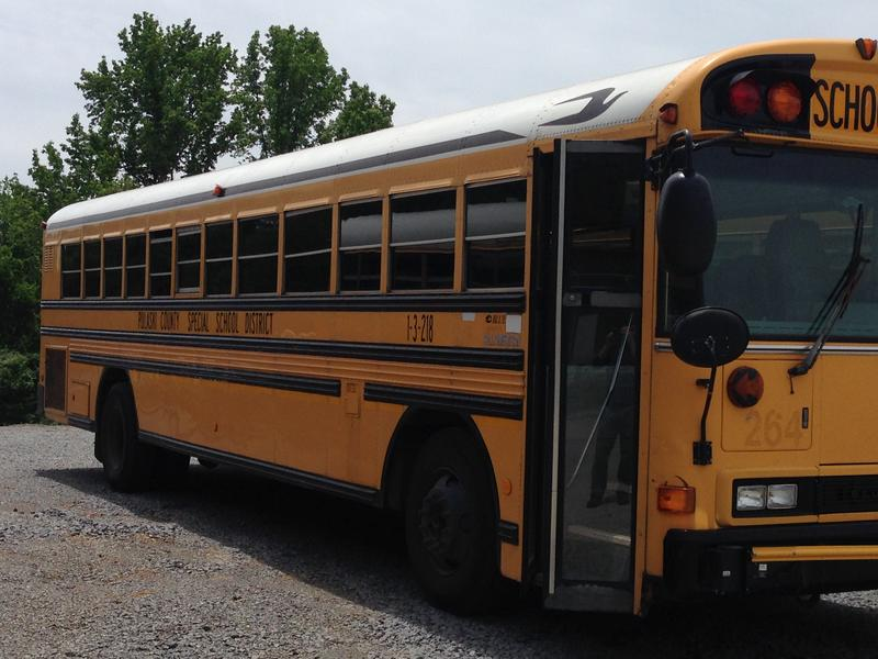 A Pulaski County Special School District Bus parked off of Highway 365.