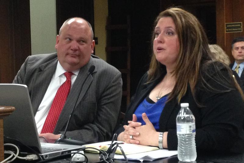 Cheryl Smith Gardner, Executive Director Arkansas Health Insurance Marketplace Board and board member Mike Castleberry speaking to a legislative committee.
