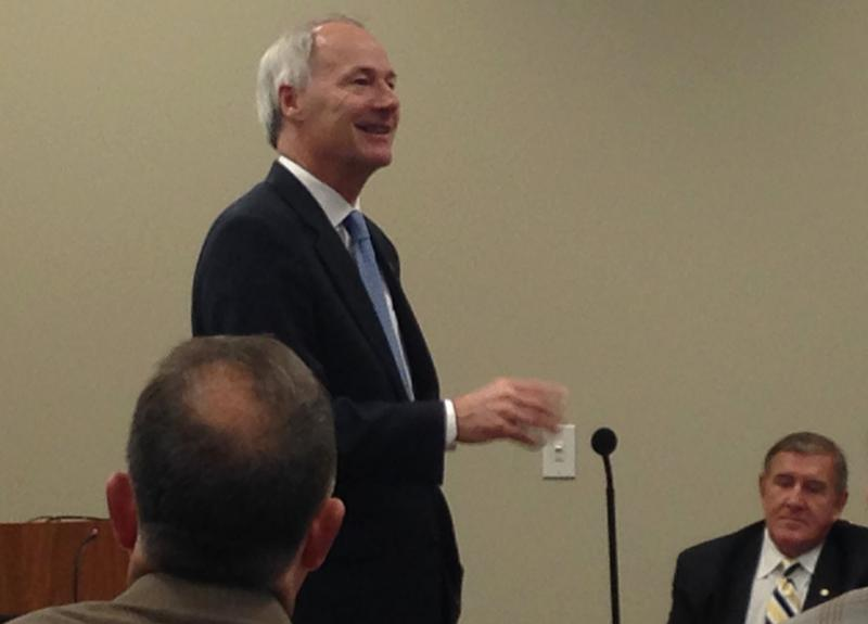Gov. Asa Hutchinson (R) speaks to the Arkansas Workforce Development Board in Little Rock.
