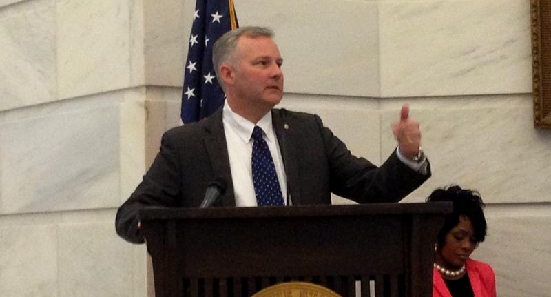 Lt. Governor Tim Griffin (R) speaking in the rotunda of the Arkansas Capitol in the spring of 2015.