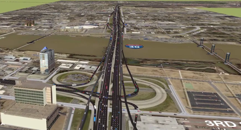 A rendering of an expanded I-30 corridor in downtown Little Rock.