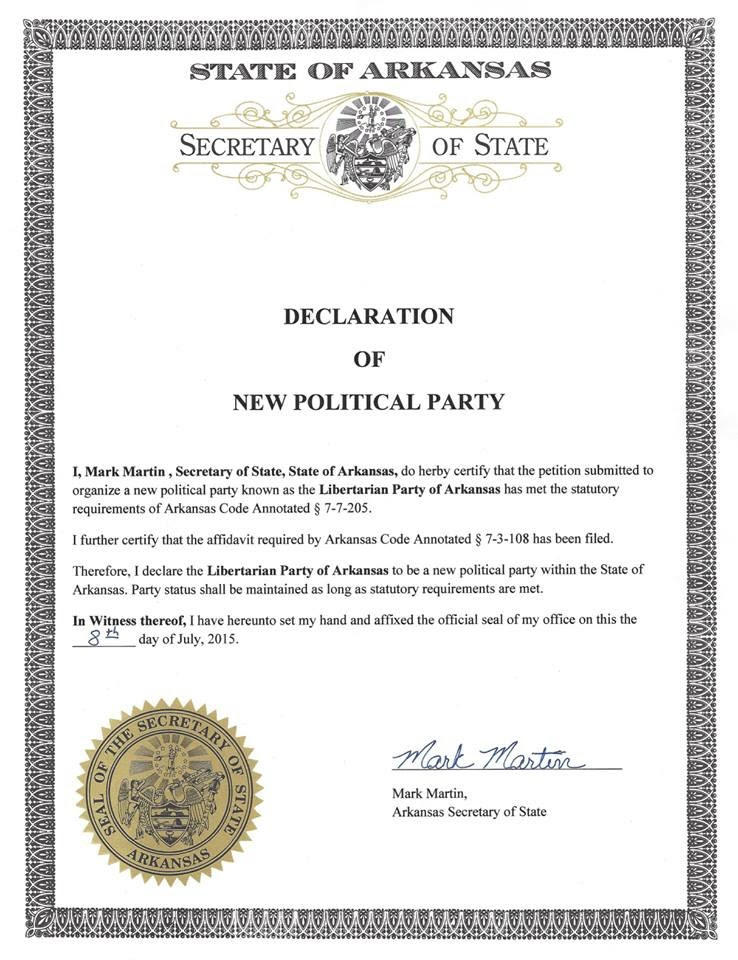"A ""Declaration of New Political Party"" from the Arkansas Sec. of State's Office."