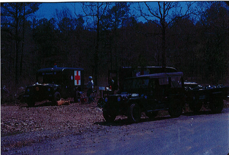 Army Reserve trucks being used for cleanup efforts.