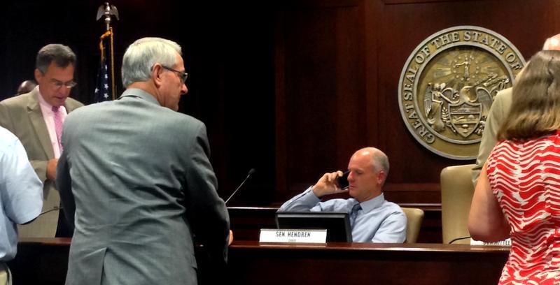 Health Care Task Force Chair, Senate Majority Leader Jim Hendren (R-Gravette) during a break in the meeting.