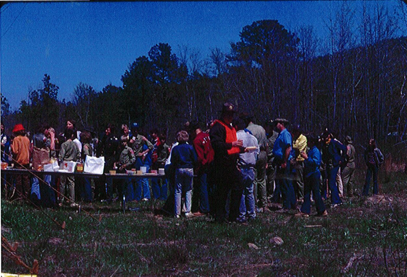 Volunteers enjoying refreshments after the cleanup.