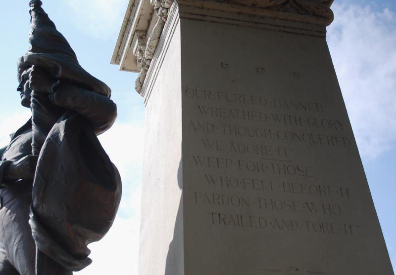 An inscription on the Confederate soldiers memorial.