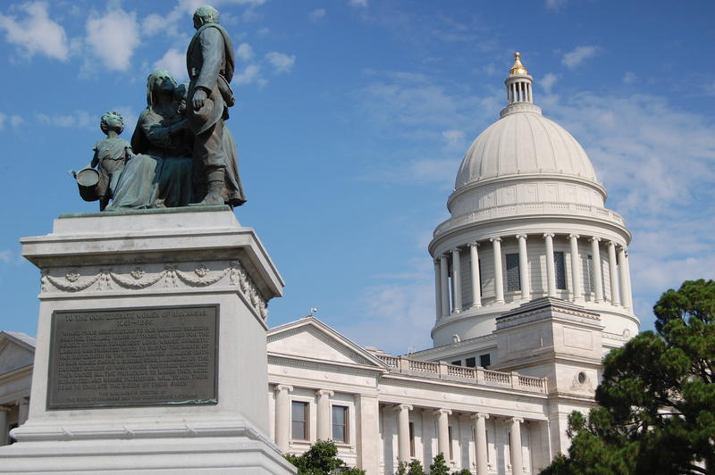 A monument to the women of the Confederacy on Arkansas's Capitol grounds.