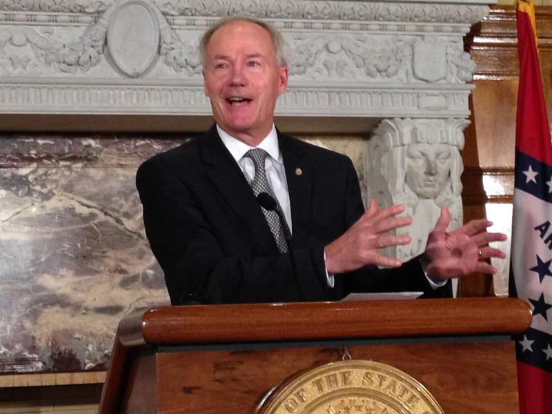Governor Asa Hutchinson (R) discussing changes to eligibility verification for Medicaid in the Governor's Conference Room at the Capitol in early August.