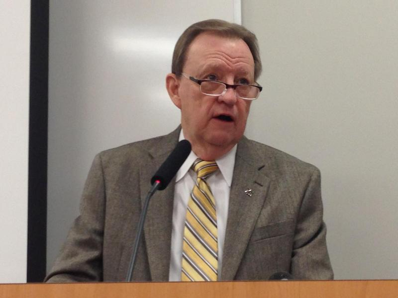 UALR Chancellor Joel Anderson speaking on campus in 2014.